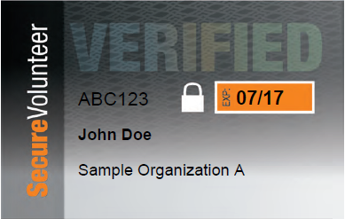 Secure Volunteer example ID Card